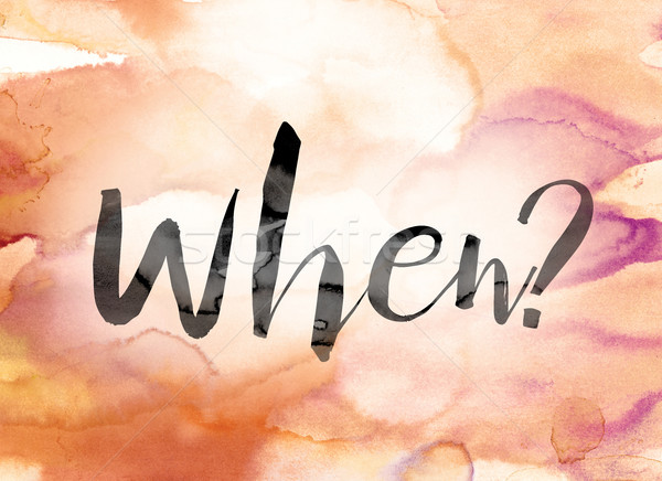 When Colorful Watercolor and Ink Word Art Stock photo © enterlinedesign