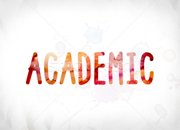 Akademicki malowany akwarela słowo sztuki kolorowy Zdjęcia stock © enterlinedesign