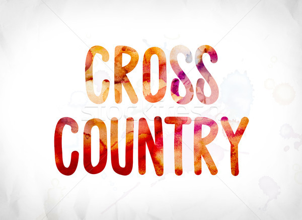 Cross Country Concept Painted Watercolor Word Art Stock photo © enterlinedesign