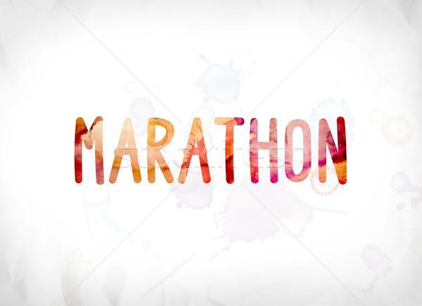 Maratona verniciato acquerello parola arte colorato Foto d'archivio © enterlinedesign