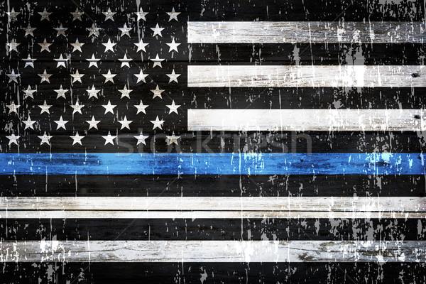Polizia sostegno bandiera intemperie bandiera americana simbolico Foto d'archivio © enterlinedesign