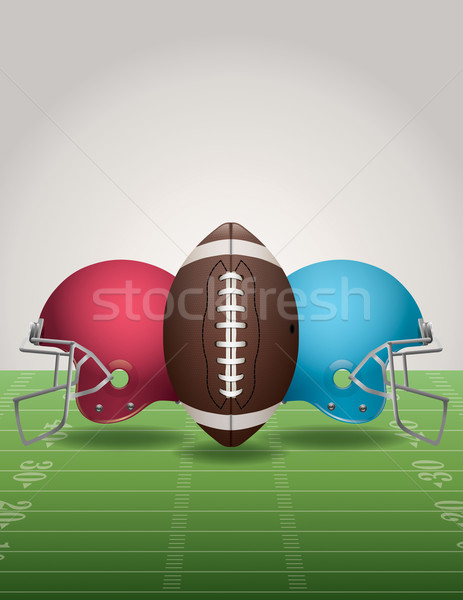 American Football Field, Ball, and Helmets Stock photo © enterlinedesign