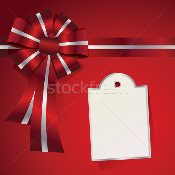 Piros karácsony ajándék íj üzenet illusztráció Stock fotó © enterlinedesign