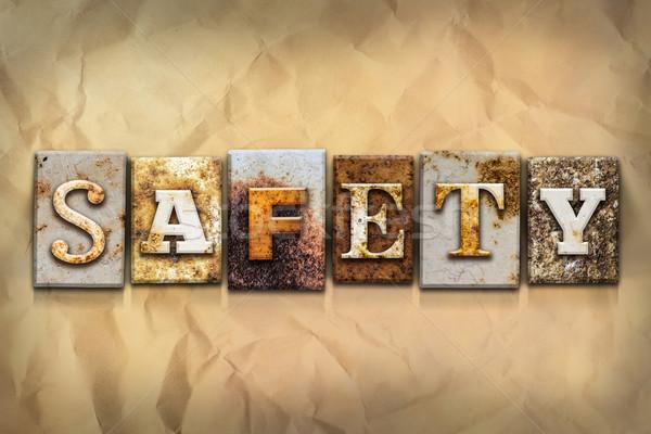 Sicurezza arrugginito metal tipo parola scritto Foto d'archivio © enterlinedesign