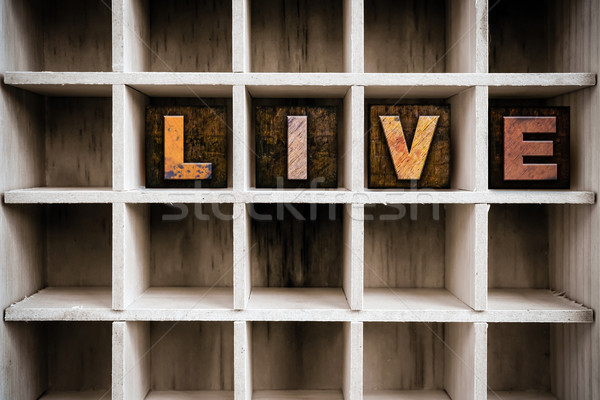 Live Concept Wooden Letterpress Type in Drawer Stock photo © enterlinedesign