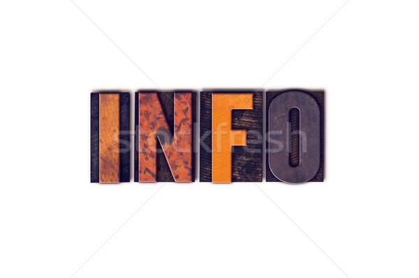 Info odizolowany typu słowo napisany Zdjęcia stock © enterlinedesign