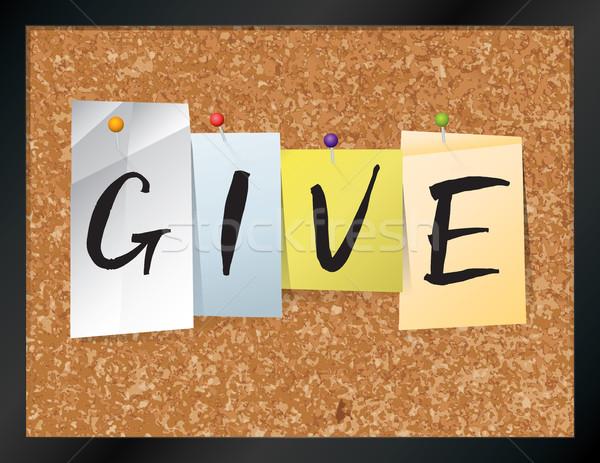 Give Bulletin Board Theme Illustration Stock photo © enterlinedesign