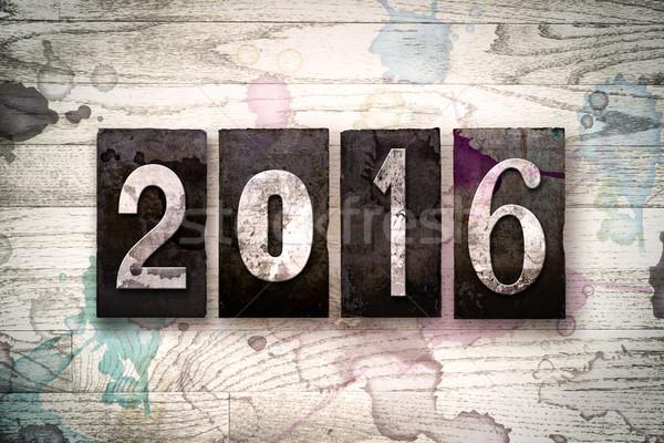 2016 metal tipo parola scritto Foto d'archivio © enterlinedesign