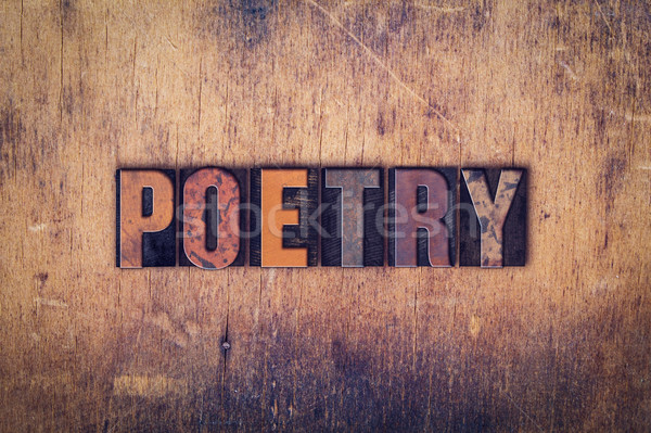 Poesie Holz Buchdruck Typ Wort geschrieben Stock foto © enterlinedesign