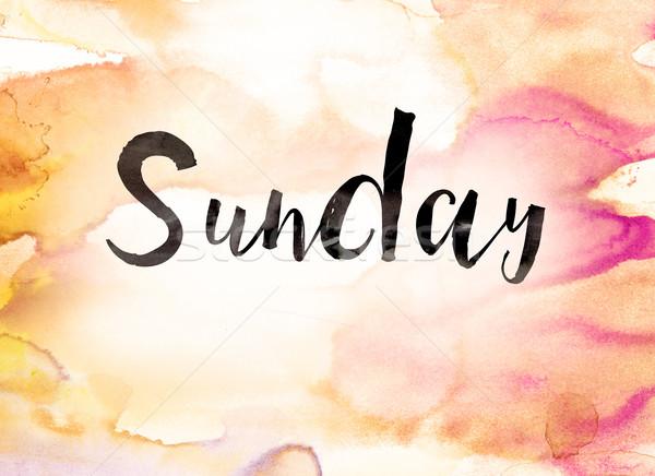 Sunday Concept Watercolor Theme Stock photo © enterlinedesign
