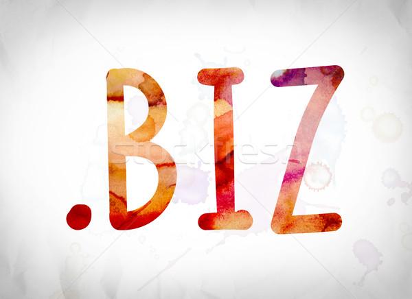 .biz Concept Watercolor Word Art Stock photo © enterlinedesign
