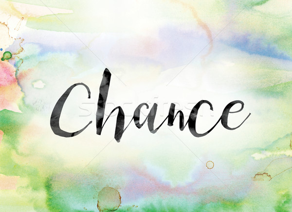 Chance Colorful Watercolor and Ink Word Art Stock photo © enterlinedesign