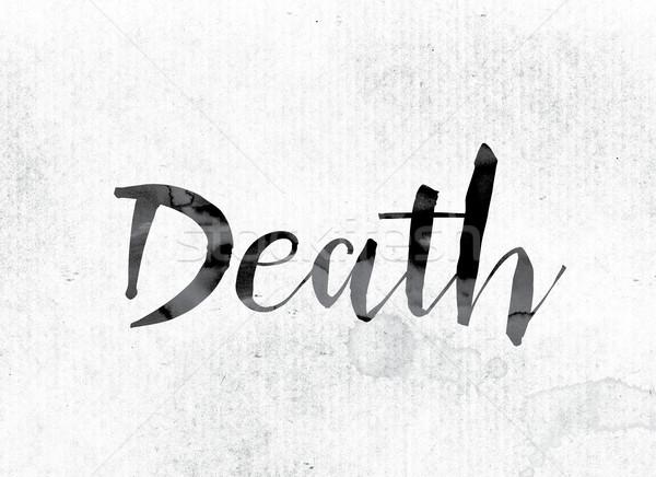 Mort peint encre mot couleur pour aquarelle blanche Photo stock © enterlinedesign