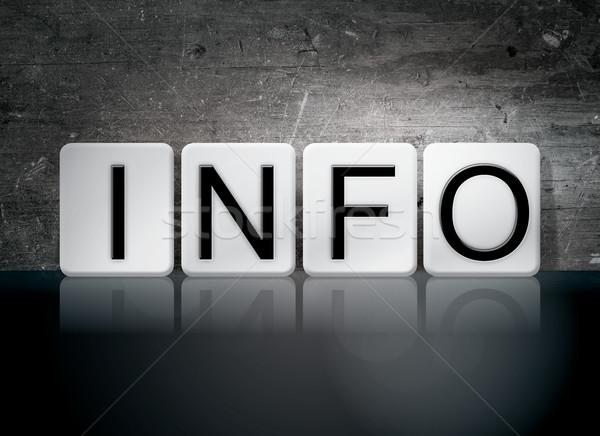 Info betegelde brieven woord geschreven witte Stockfoto © enterlinedesign