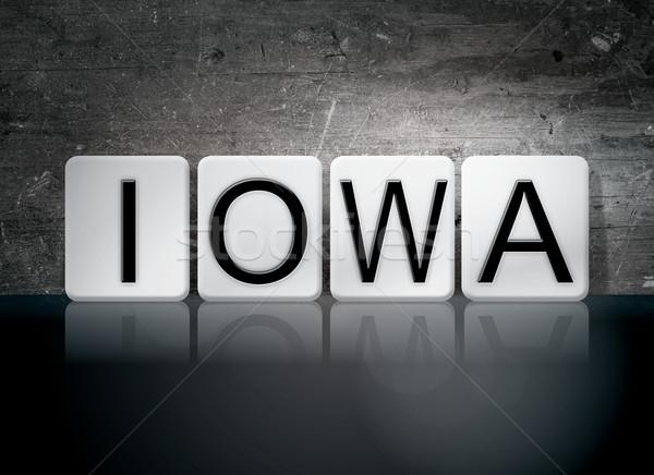 Iowa csempézett levelek szó írott fehér Stock fotó © enterlinedesign