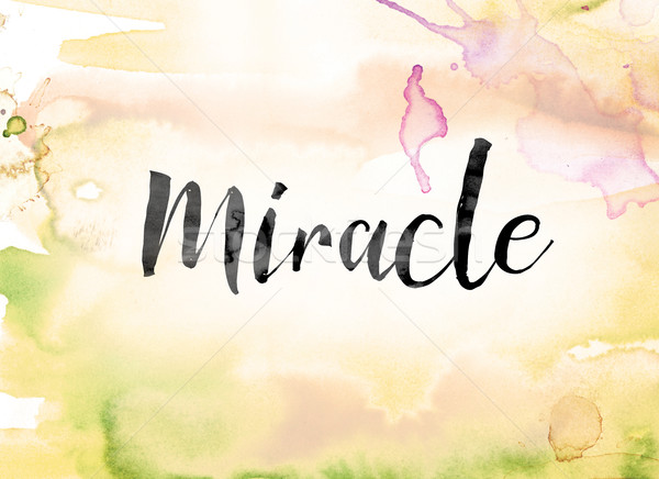 Miracle Colorful Watercolor and Ink Word Art Stock photo © enterlinedesign