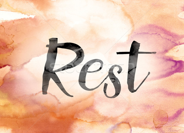 Rest Colorful Watercolor and Ink Word Art Stock photo © enterlinedesign