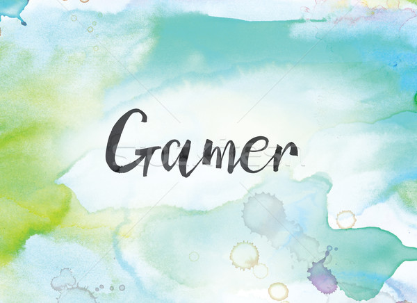 Gamer Concept Watercolor and Ink Painting Stock photo © enterlinedesign