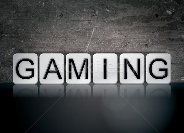 Számítógépes játékok csempézett szó írott fehér csempék Stock fotó © enterlinedesign