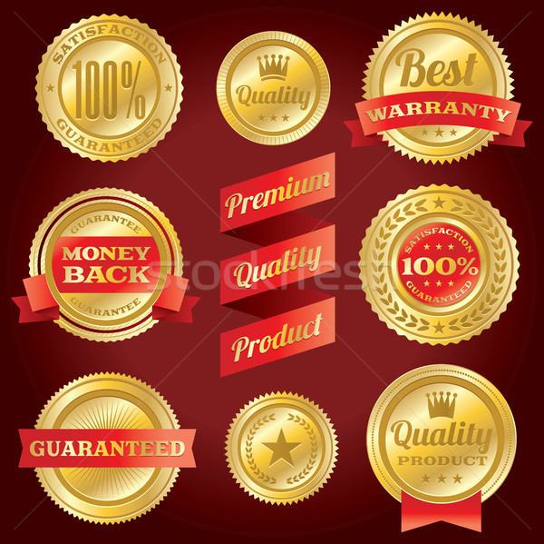 Satisfaction garantir garantie badges étiquettes Photo stock © enterlinedesign