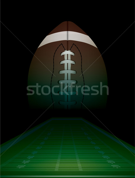 Stock photo: American Football Field and Ball Illustration