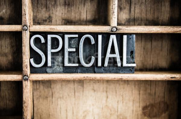Especial metal palabra cajón escrito Foto stock © enterlinedesign