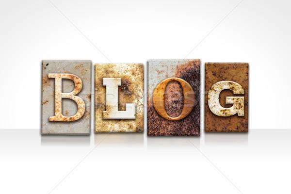 ストックフォト: ブログ · 孤立した · 白 · 言葉 · 書かれた