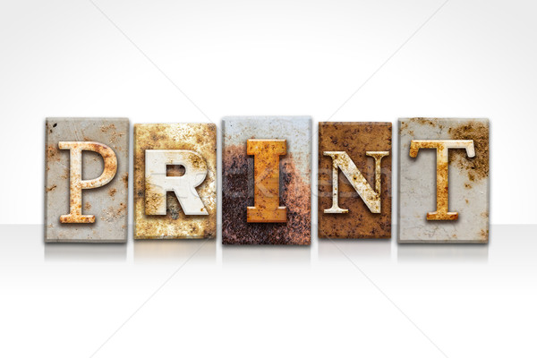 Print Letterpress Concept Isolated on White Stock photo © enterlinedesign