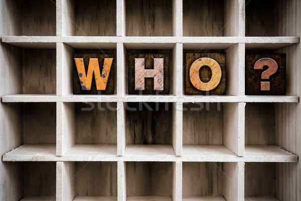 Who Concept Wooden Letterpress Type in Drawer Stock photo © enterlinedesign