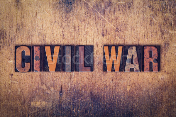 Civil War Concept Wooden Letterpress Type Stock photo © enterlinedesign