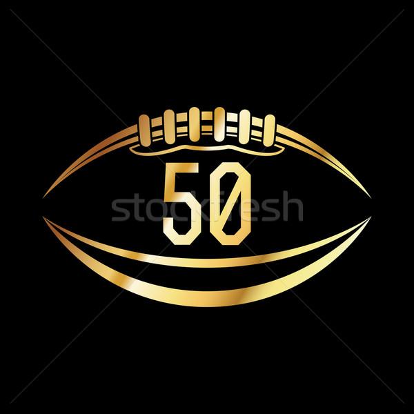 Amerykański piłka nożna 50 godło numer wektora Zdjęcia stock © enterlinedesign
