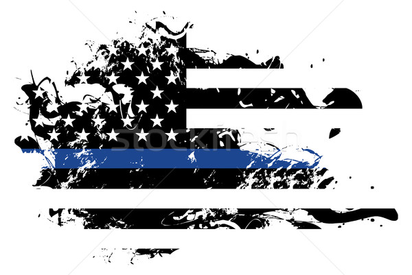 Abstract Police Support Flag Illustration Stock photo © enterlinedesign