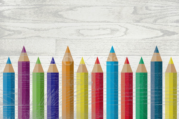 Colorful Pencils Painted Over Whitewashed Boards Stock photo © enterlinedesign