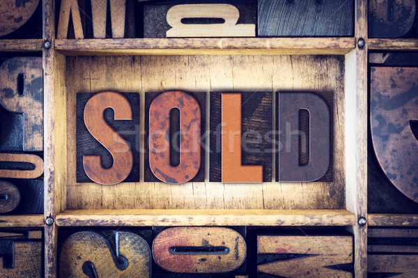 Sold Concept Letterpress Type Stock photo © enterlinedesign