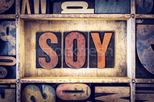 Soy Concept Letterpress Type Stock photo © enterlinedesign