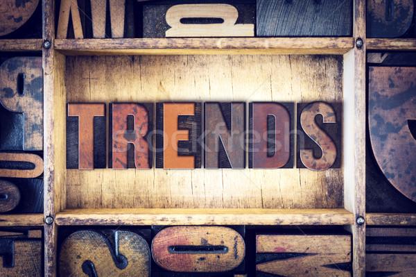 Тенденции тип слово написанный Vintage Сток-фото © enterlinedesign
