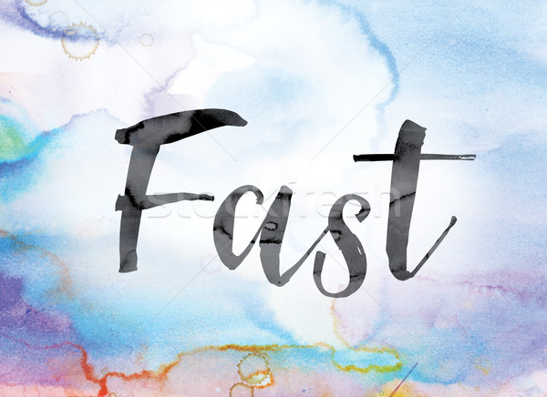 Fast Colorful Watercolor and Ink Word Art Stock photo © enterlinedesign