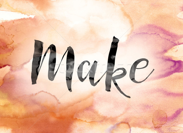 Make Colorful Watercolor and Ink Word Art Stock photo © enterlinedesign