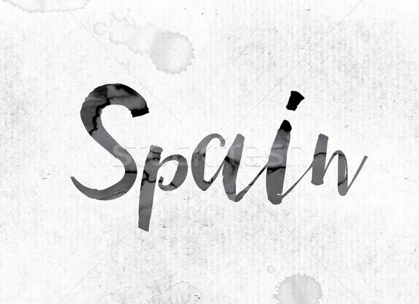 Spagna verniciato inchiostro parola acquerello bianco Foto d'archivio © enterlinedesign
