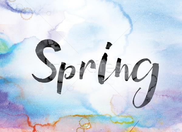 Zdjęcia stock: Wiosną · kolorowy · akwarela · atramentu · słowo · sztuki