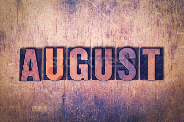 Agosto palabra madera escrito vintage Foto stock © enterlinedesign
