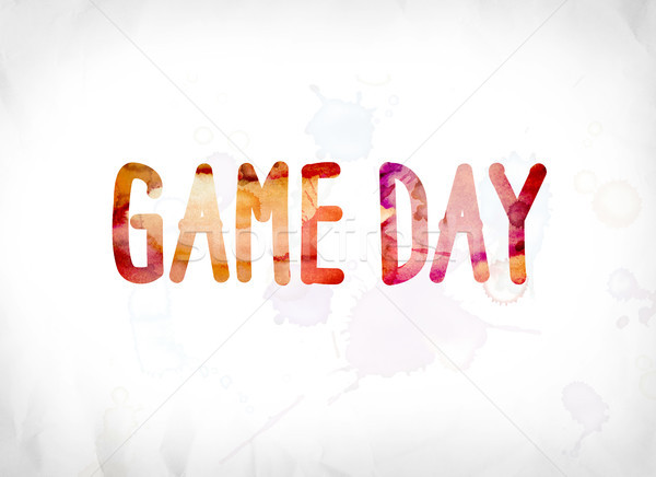 Game Day Concept Painted Watercolor Word Art Stock photo © enterlinedesign