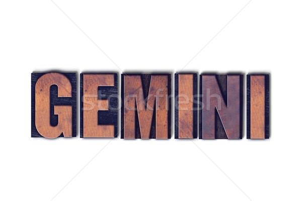 Gemini Concept Isolated Letterpress Word Stock photo © enterlinedesign