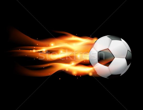 Vlammende voetbal vliegen zwarte vector eps Stockfoto © enterlinedesign
