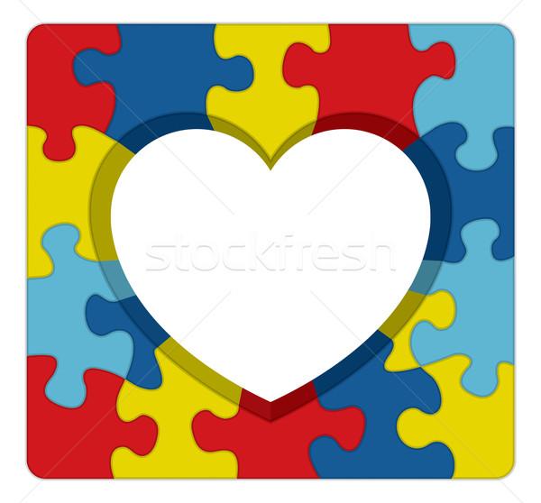 Autismo consciência quebra-cabeça coração ilustração simbólico Foto stock © enterlinedesign