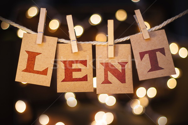 Lent Concept Clipped Cards and Lights Stock photo © enterlinedesign