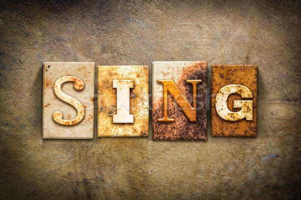 Sing Concept Letterpress Leather Theme Stock photo © enterlinedesign