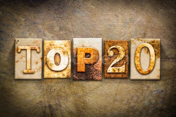 Top 20 Concept Letterpress Leather Theme Stock photo © enterlinedesign