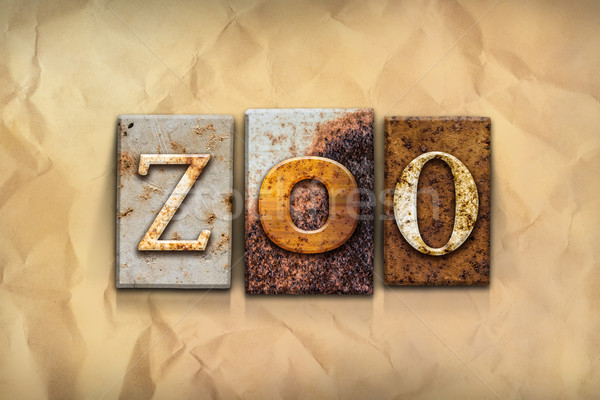 Zoo Concept Rusted Metal Type Stock photo © enterlinedesign