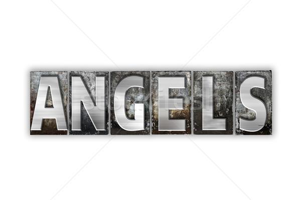 Angyalok izolált fém magasnyomás szó Stock fotó © enterlinedesign